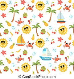 Colorful summer seamless pattern with sun, crab, starfish, palm, pineapple, banana, sailboats and watermelon. Cute background