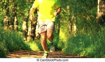 Slow motion shot of a defocused male athletic runner running in the park on a sunny summer day