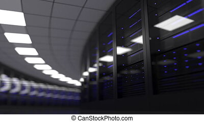Loopable motion background - modern server room, shallow...