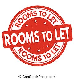 Rooms to let sign or stamp on white background, vector...
