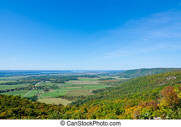 Autumn colors near Ottawa river valley in sunny day