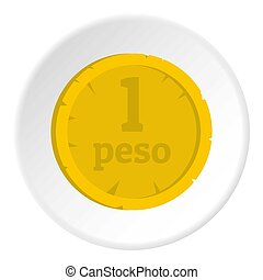 Peso icon circle - Peso icon in flat circle isolated on...