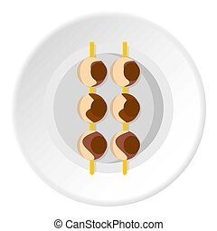 Asian shashlik icon circle - Asian shashlik icon in flat...