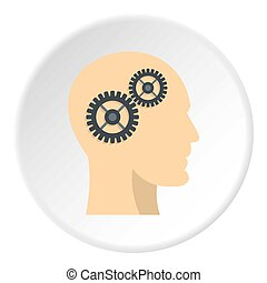 Profile of the head with gears inside icon circle - Profile...