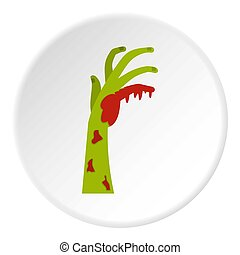 Zombie green bloody hand icon circle - Zombie green bloody...