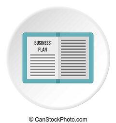 círculo, plano, negócio, ícone