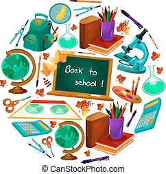 Back to School vector poster of study supplies - Back to...