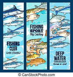 Vector banners for fishing or fisher sport club - Fishing...