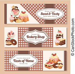 Bakery shop desserts vector banners set - Bakery or pastry...