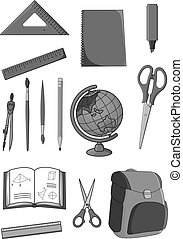 Vector icons set of school education supplies