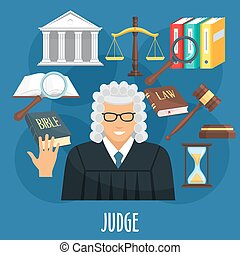 Vector poster of judge profession or advocacy - Judge...