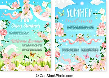 Welcome Summer poster template with flowers