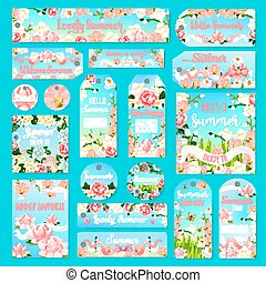 Flower gift tag and label set with summer bouquet