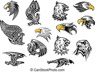 Vector icons eagle hawk bird for mascot or tattoo - Eagle or...