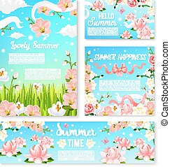 Summer time flowers banner and poster template set. Blooming...