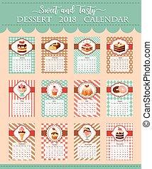 Calendar template 2018 of bakery vector desserts - Calendar...