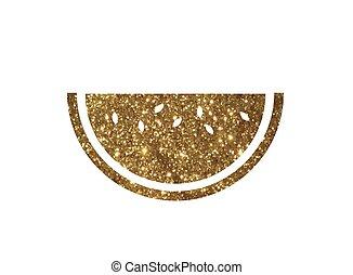 gouden,  fruit,  Vector, watermeloen,  shinny, schitteren, pictogram