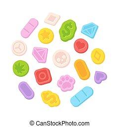 Ecstasy MDMA pills - Bright cartoon ecstasy MDMA pills...