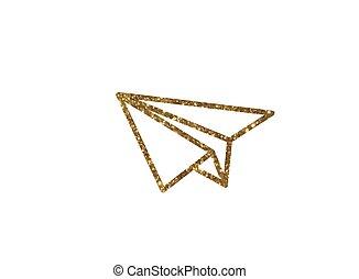 gouden, goud, plat, kleur, horloge,  Vector, schitteren,  smart, pictogram