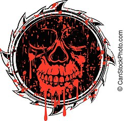 abstract grunge sign to red skull - Vector illustration...