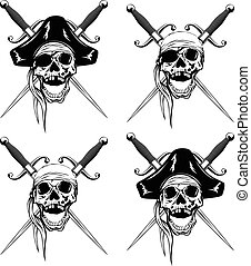Pirate skull two daggers set