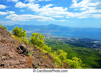 The view from the Vesuvius vulcano towards the city of...