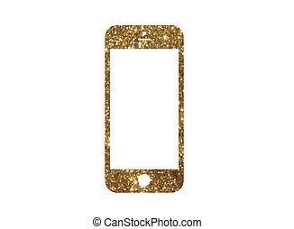 gouden, goud, plat, kleur, Telefoon,  Vector, schitteren,  smart, pictogram