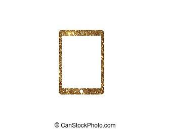 gouden,  Computer,  tablet, plat,  Vector, schitteren, pictogram