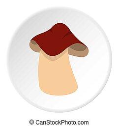 Boletus icon circle - Boletus icon in flat circle isolated...