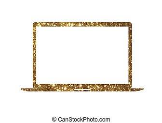 gouden,  Vector, goud, plat, kleur, draagbare computer,  Computer, schitteren, pictogram