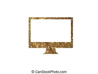 gouden,  Vector, goud, plat, kleur,  Computer, schitteren, pictogram