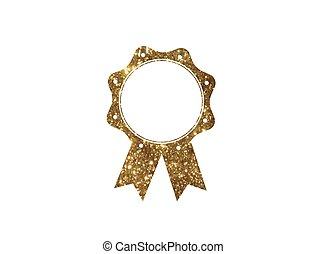 gouden, schitteren, goud, kleur,  badge, toewijzen,  Vector, medaille, lint