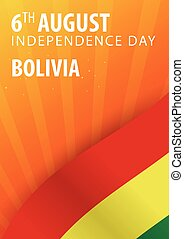 Independence day of Bolivia. Flag and Patriotic Banner....