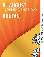 Independence day of Bhutan. Flag and Patriotic Banner....