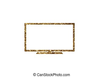 Vector cutout golden glitter of isolated OLED black flat smart wide TV