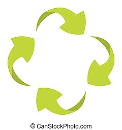 Ecologycal flat green recycle eco sign isolated on white...