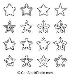 Set flat black line star icons