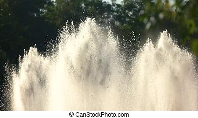 Fountains outdoor, slow motion. - Fountains outdoor slow...