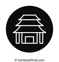 Japan temple icon isolated on white background