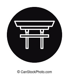 Japan torii icon isolated on white background. Vector...