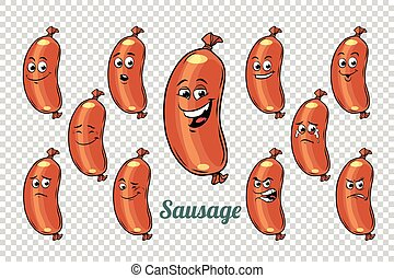 sausage emotions characters collection set. Isolated neutral...