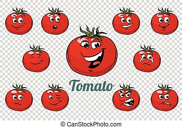 tomato emotions characters collection set. Isolated neutral...