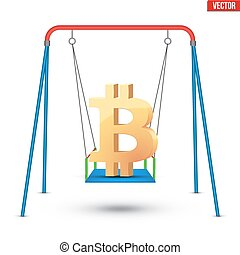 Concept illustration of bitcoin fluctuation - Concept...