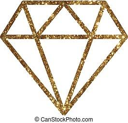 gouden, diamant, plat,  Vector, schitteren, pictogram