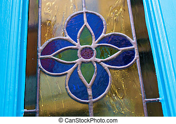 Stained-glass window of blue flower