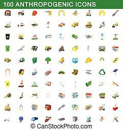 100 anthropogenic icons set, cartoon style - 100...