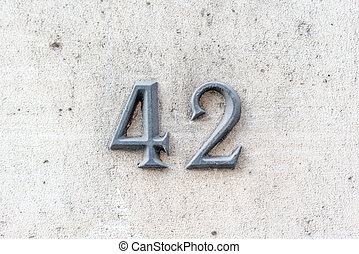 Number 42 - bronze house number forty two (42).