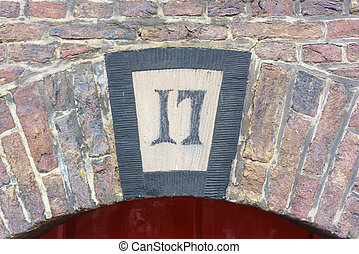 number 17 - House number seventeen (17) on a medieval...