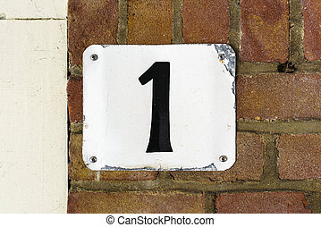 Number 1 - House number one (1) , hand painted on a white...