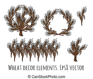 Wheat rye objects isolate decor elements. Color vector...